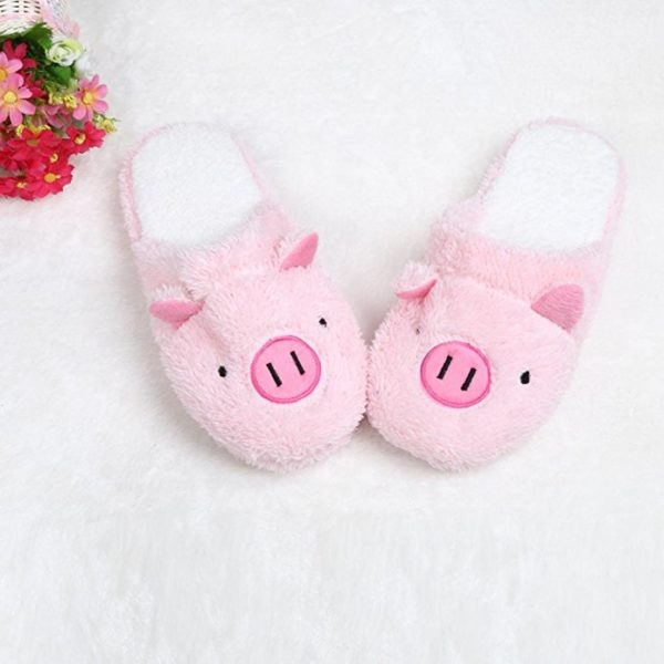 Amiley Women's Plush House Floor Soft Piggy Scuffs Slipper Cotton-padded Shoes - Pink