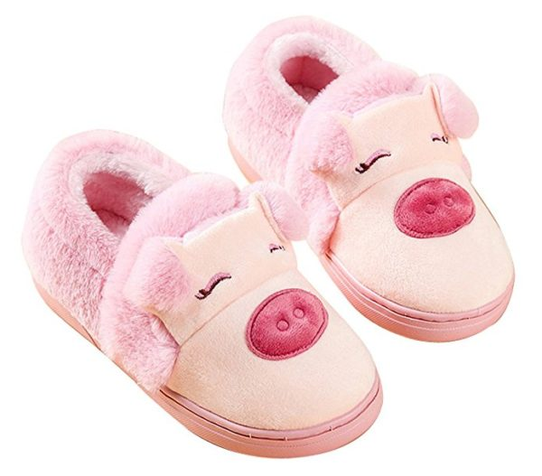 Blubi Women's Winter Piggy Skid-proof Closed Toe House Shoes Ladies Slippers Cute Slippers - Rose