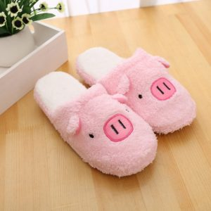 Boys Girls Velvet Slippers Non-slip Rubber Soles Pink - The Piggy Store