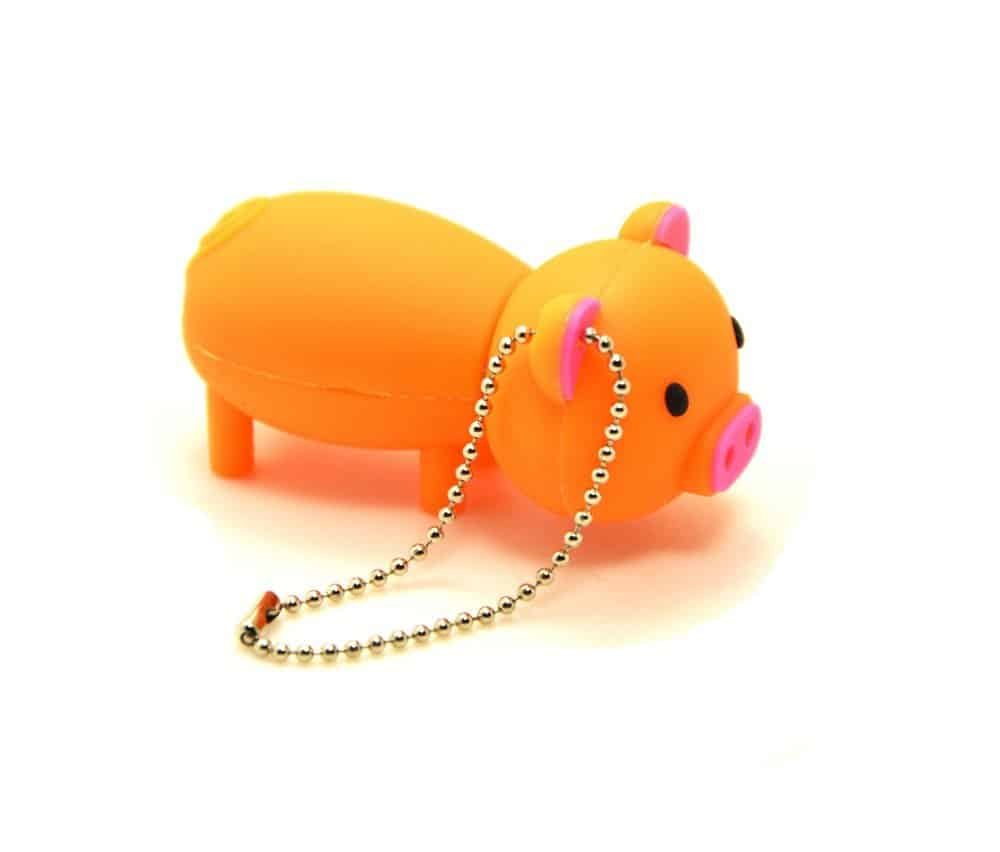 32GB USB 2.0 Flash Drive Rubber Piggy Pig Shaped