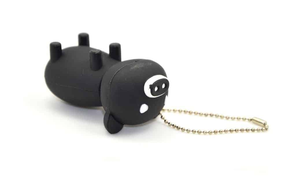 16GB USB2.0 Memory Flash Stick Black Pig with White Mouth