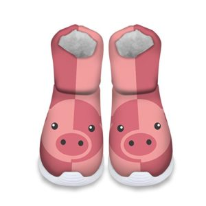 Cute Pig Owl Horse Print Kids Warm Winter Shoes Snow Boots