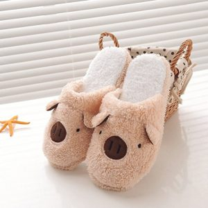 Men Women Slippers Family Couples Young Boys Girls Coral Velvet Slippers Non-slip Rubber Soles Coffee