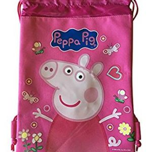 Peppa Pig Drawstrings String Backpack Sling Tote Bag Pink