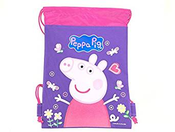 Peppa Pig Drawstrings String Backpack Sling Tote Bag Purple