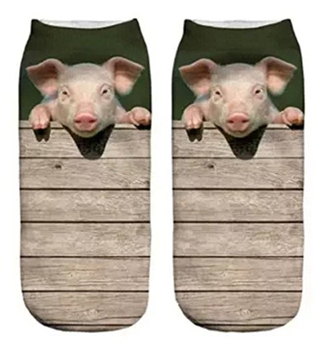 Stepsucceed Little Pig Wood Funny Women's Cool Animal Fun Crazy Socks Low Cut Ankle