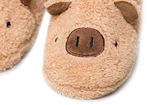 TOKYO-T Fuzzy Animal Slippers for Women Piggy Bunny Pink Room Shoes Size 9