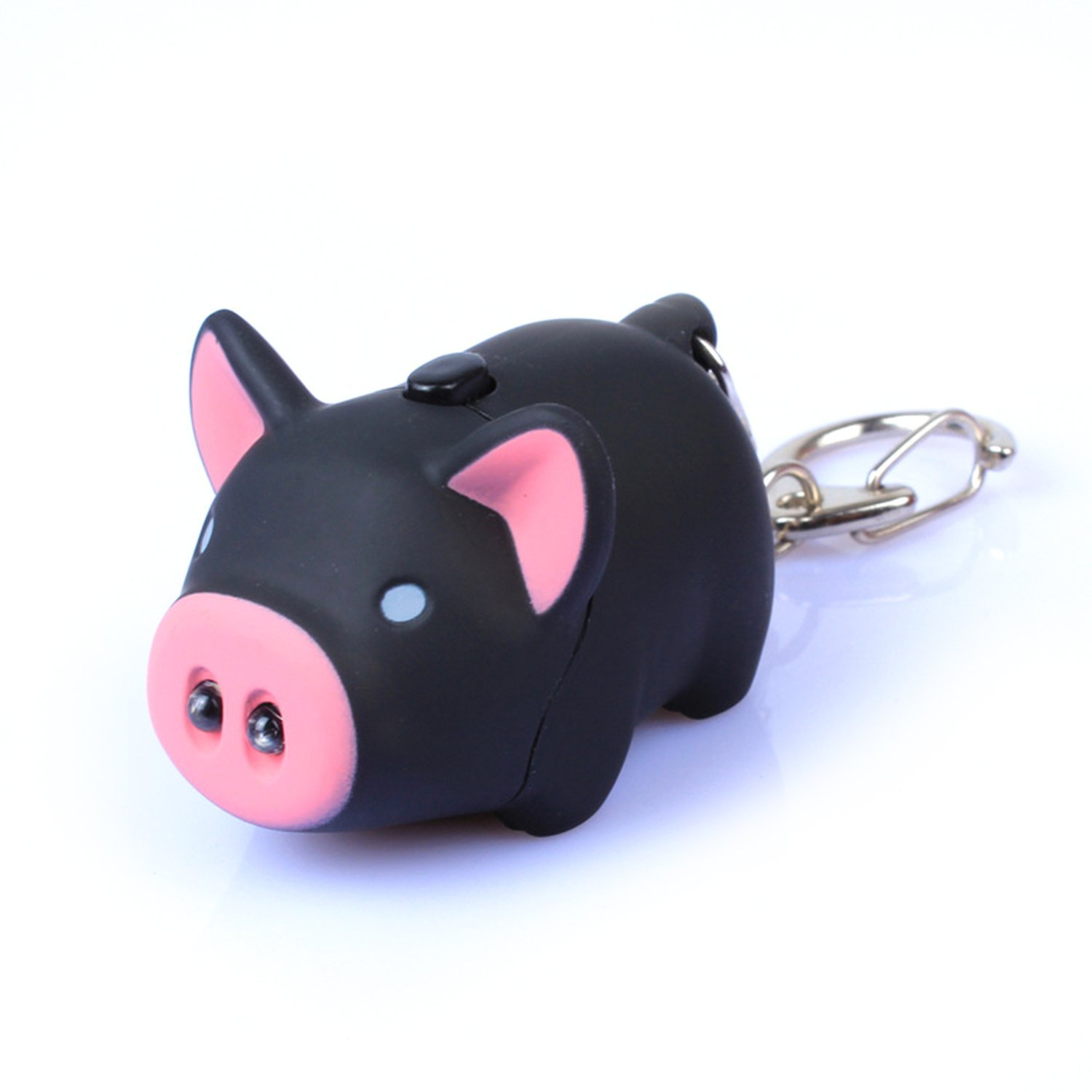 3 Pack PBY Oink Piggy Animal Design Keychain with LED Light and Sound