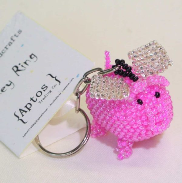 Adorable Handcrafted Pink Flying Pig Key Chain Backpack Charm Purse Charm Key Ring