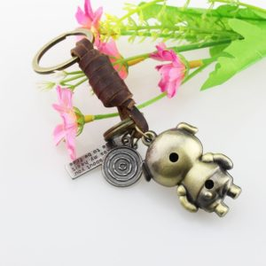 FOY-MALL Vintage Pig Bronzy Alloy Women Men Keychain for Gift