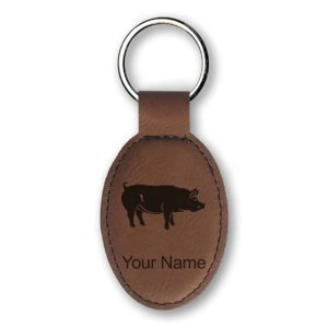Keychain - Pig - Personalized Engraving Included (Dark Brown)