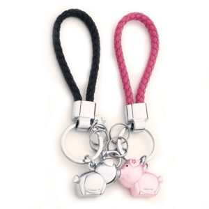 MILESI Destined Kiss Metal Piggy Keychain with magnetism one pair Valentine's Present (silver pink) (4)