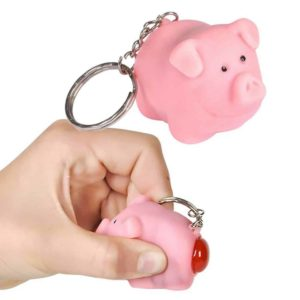 Naughty Pooping Pig Farm Animal Keychain