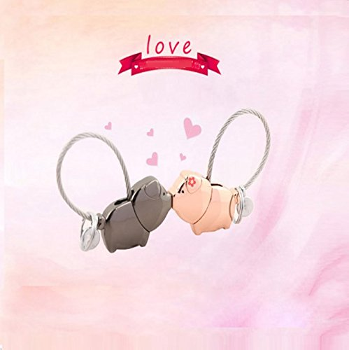 Sweet Kissing One Pair of Pig Couple Keychain Valentine's Day Gift Key Pendant Key Accessories Car Business Gifts By Palker sky