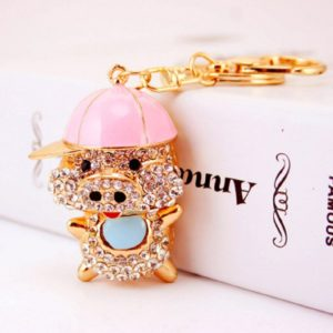 XmaSmile Cute Pig Style Flash Crystal Key Chain Ring Keyring Keychain Fob Holder Bag Handbag Hook (Pink Hat)