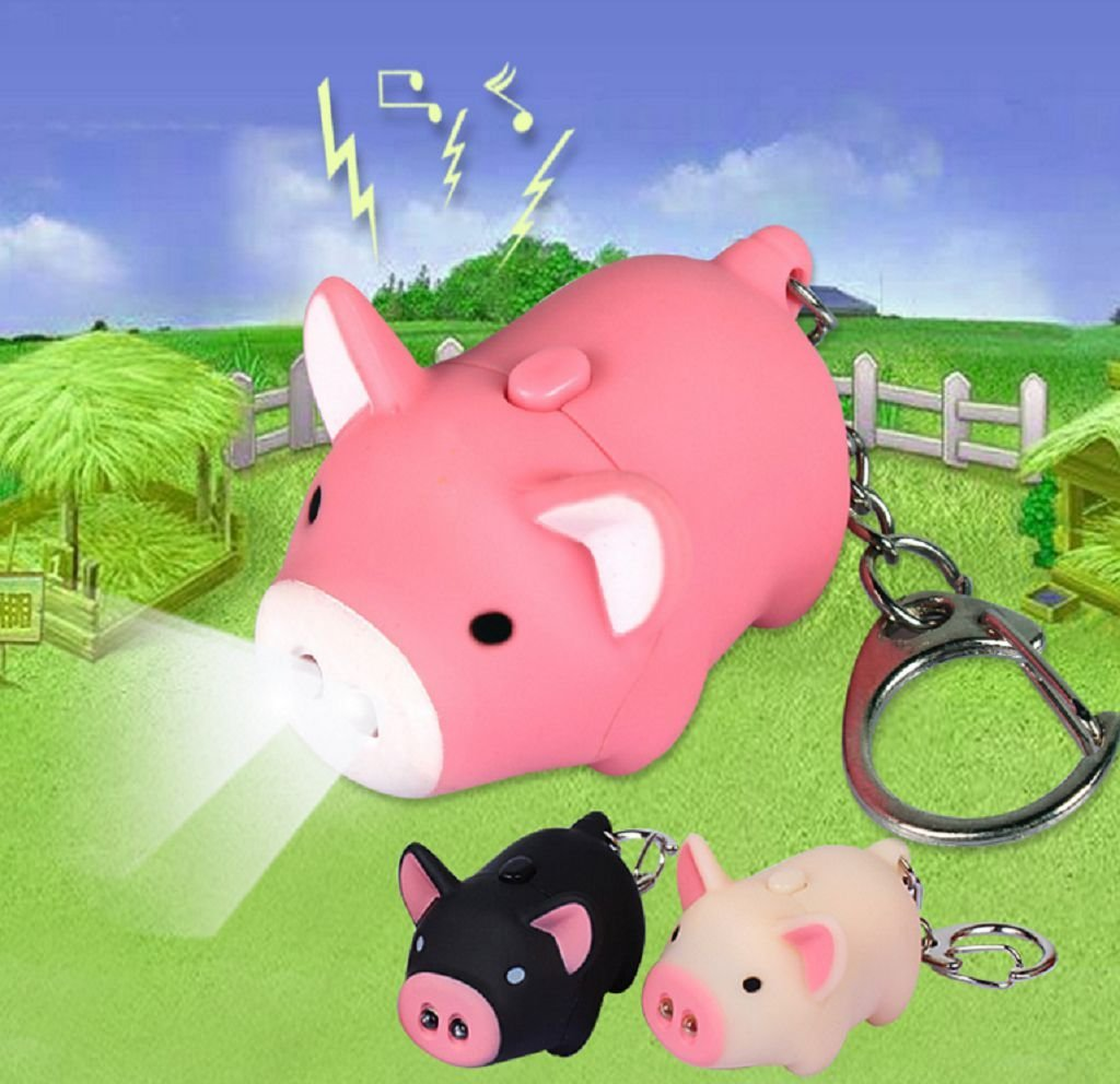 Y&Y Star 3pcslot Cartoon Oink Piggy Light & Sound Keychains Pink