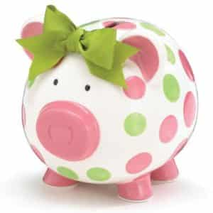 Pink & Green Circles Pig Piggy Bank