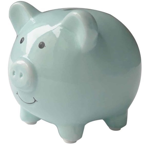 Small Cute Ceramic Piggy Coin Bank for Kids, Blue