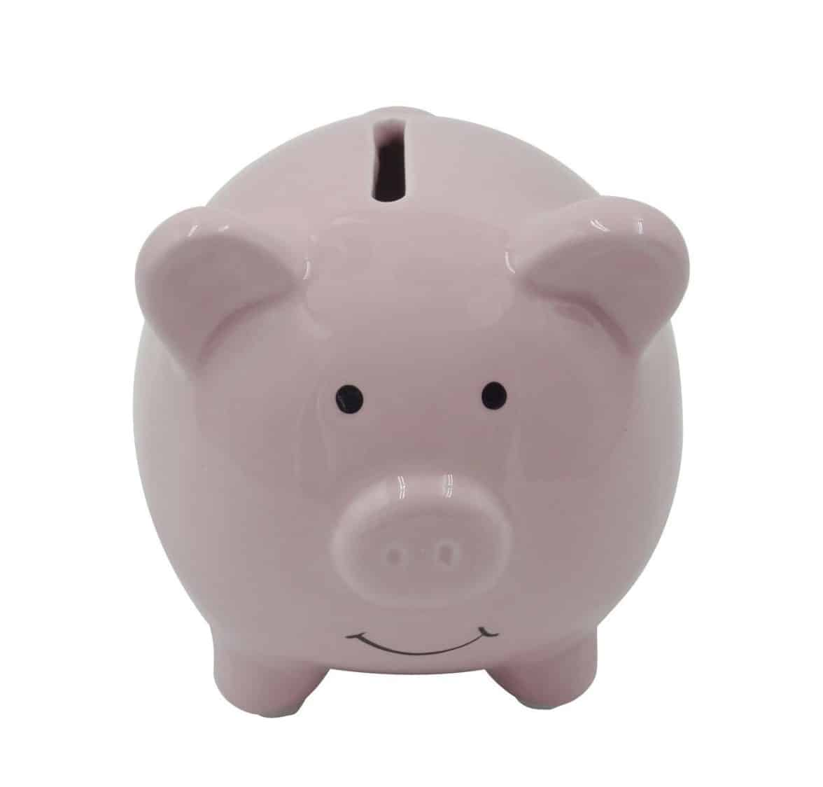 Small Cute Ceramic Piggy Coin Bank for Kids, Pink