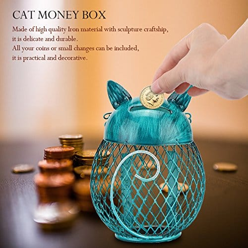 AOZBZ Owl Shape Figurine Piggy Bank Money Box, Metal Money Bank Coin Box Saving Pot Container Room Ornaments and Home Decorations Crafts Gift for Kids and Adult