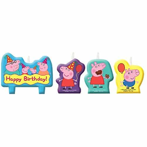 Amscan Peppa Pig Birthday Party Molded Candle Cake Set Decoration, Multicolor