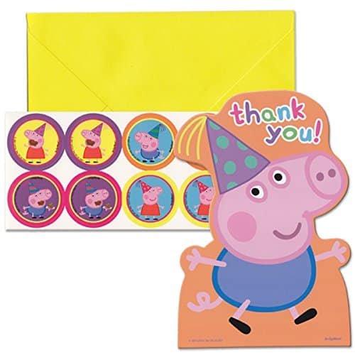 Amscan Peppa Pig Birthday Party Postcard Thank You Cards, Multicolor, 4 14 x 6 14