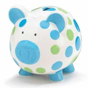 Blue And Green Polka Dot Piggy Bank Adorable BabyToddler Gift