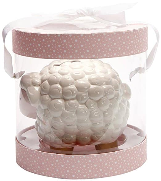 C.R. Gibson Ceramic Bank, Painted Ceramic Coin Bank For Baby, Nursery Décor, Perfect Gift, Measures 6.25 W x 5.25 D x 5 H - Pink and Gold Sheep
