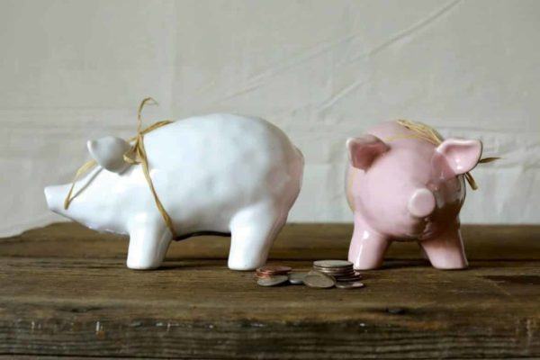 Ceramic Piggy Bank, 2 Colors - Set of Two