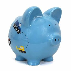 Child to Cherish Piggy Bank Large, Blue Construction