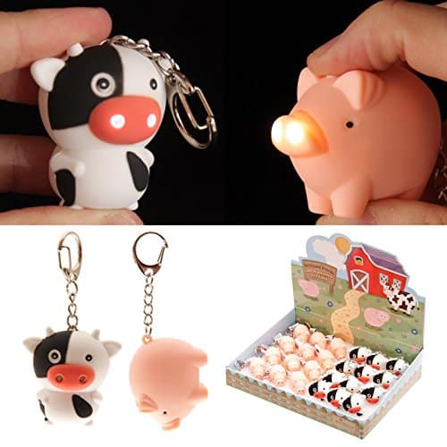 Cute LED light up Farmyard Keyring Key chain torch Pig or Cow (Pig)