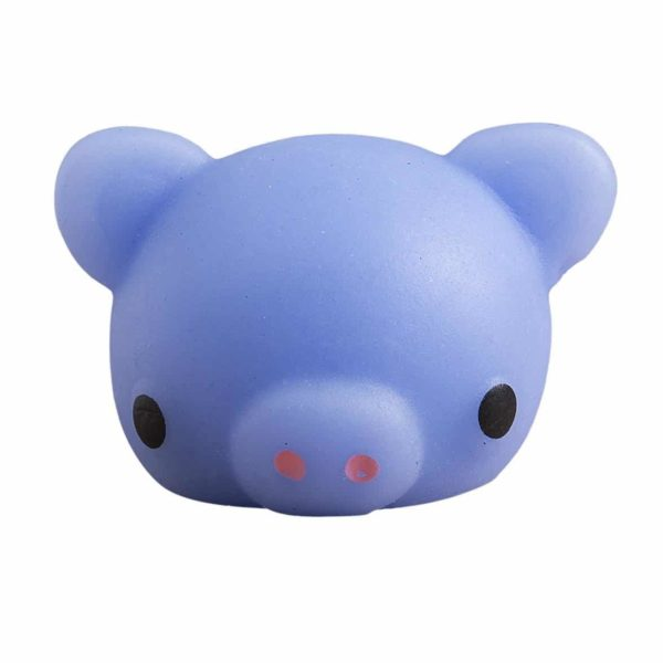 Cute Mini Animal Seals Healing Toys Slow Rising Squishy Stress Relief Toy for Kids Adults (Blue Pig)