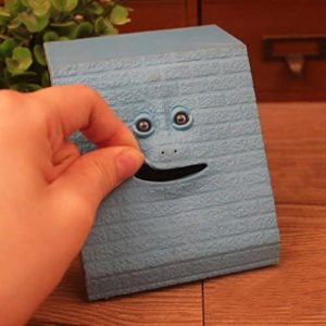 Face Bank Coin Eating Saving Bank , Automatic Money Box Piggy Bank for Kids Blue