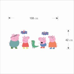 Fange DIY Removable Peppa Pig Wall Stickers Children Room'S Decor Bedroom Decals Kindergarten Background Stickers 42.5''x16.5'' by Fangeplus