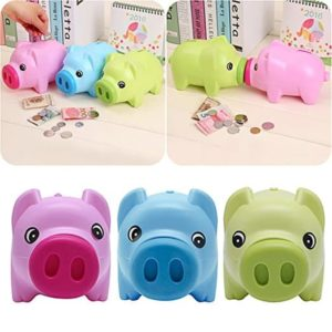 Kids Children Prevent Loss Coin Cash Pink Piggy Bank Plastic Pig Toy Savings Jar