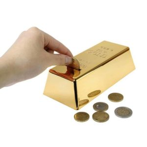 LOBZON Gold Bar Coin Bank, Makes a Perfect Unique Gift, Keepsake, or Savings Piggy Bank for Kids