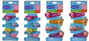 Peppa Pig 4 Hair Ponies x 2 and 4 Glitter Snap Hair Clips x 2 (total 4pks)