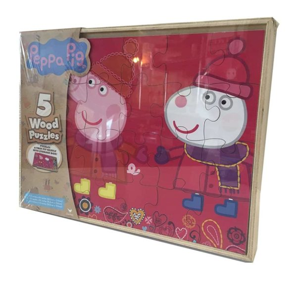 Peppa Pig 5 Wood Puzzles In Wooden Storage Box (styles will vary)