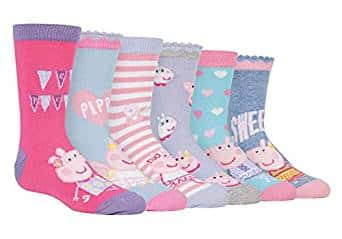 Peppa Pig - 6 Pack Girls Boys Kids Fun Colorful Cotton Peppa Pig and George Crew Socks