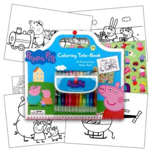 Peppa Pig Art Activity Set With Coloring Book Pages, Stickers & Twist-Up Crayons, Also Included Is 1 Large 3X3 inch Separately Licensed Coloring Sticker