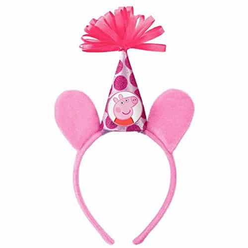 Peppa Pig Birthday Party Deluxe Headband Accessory, Pink, Fabric , 8 x 6