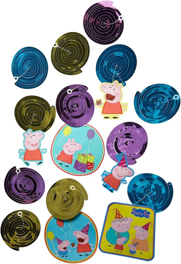 Peppa Pig Birthday Party Foil Swirl Decorations, Pack of 12