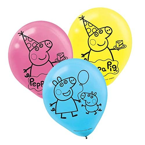 Peppa Pig Birthday Party Printed Latex Balloons Decoration, Pink,Blue and Yellow, 12, Pack of 6