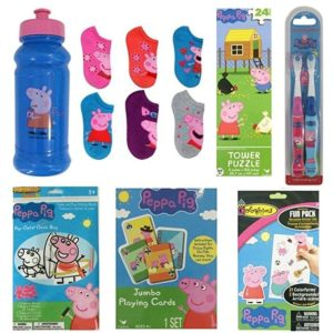 Peppa Pig Bundle - Girls 6 Pr No Show Socks SM Shoe Size 9 - 2, Water Bottle, Playing Cards, Puzzle, Colorforms, 2 Toothbrushes Activity Boards
