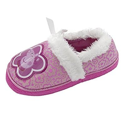 Peppa Pig Girls Slip On Slippers Purple & Silver
