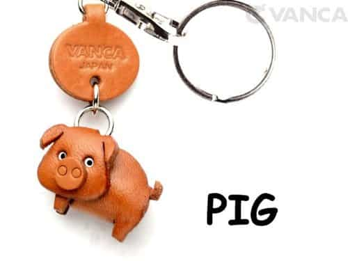 Pig Leather Animal Small Keychain VANCA CRAFT-Collectible Keyring Charm Pendant Made in Japan