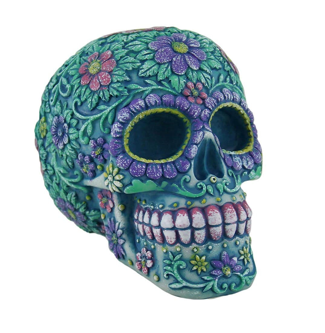 Resin Toy Banks 2663 Floral Day Of The Dead Aqua And Purple Sugar Skull Coin Bank 5.25 X 4.25 X 3.75 Inches Blue