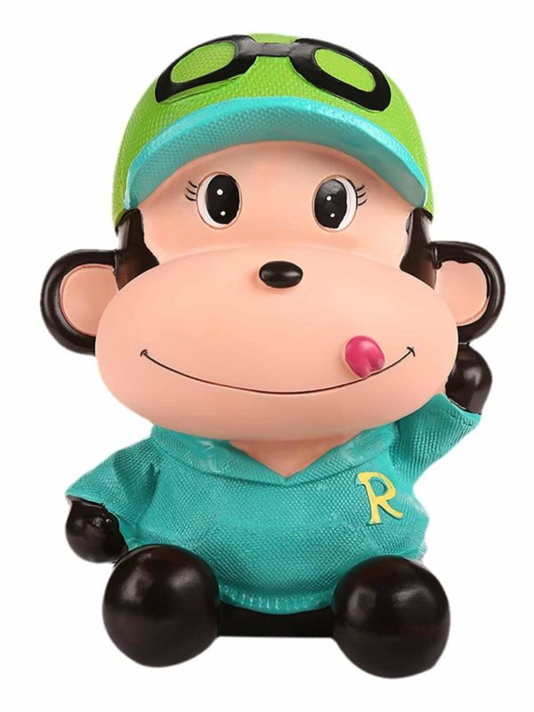 SAVING NOW Coin Green Monkey Coins Penny Cents Piggy Bank Saving Box Money Box Kids Children Present Gift
