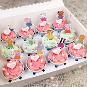 Set of 48 Pieces Peppa Pig Cupcake Topper, Peppa Pig Theme Party Decorative Cupcake Topper For Sweet Heart Birthday Party