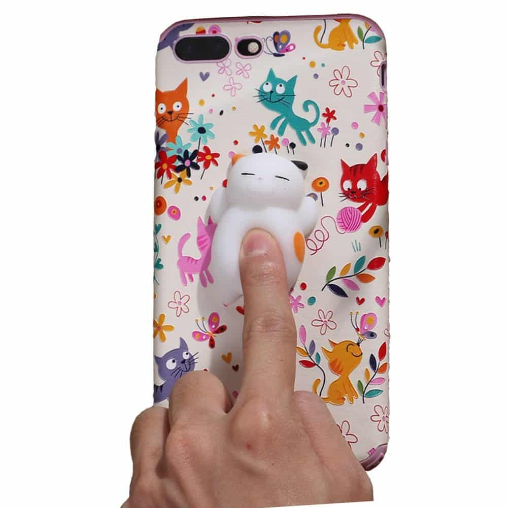 Squishy Cat Phone Case Cover for iPhone 7 4.7inch Smartphones Cute Mini Animal Stress Relief Toy(for 7)